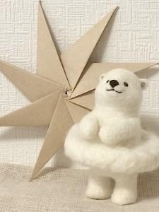 羊毛フェルト 白くま